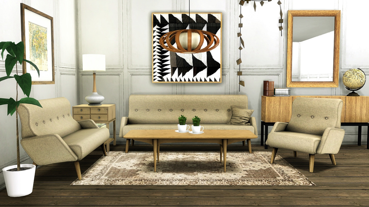 Sims 4 CC\'s - The Best: Awesims Retro Modern Living Room Set ...