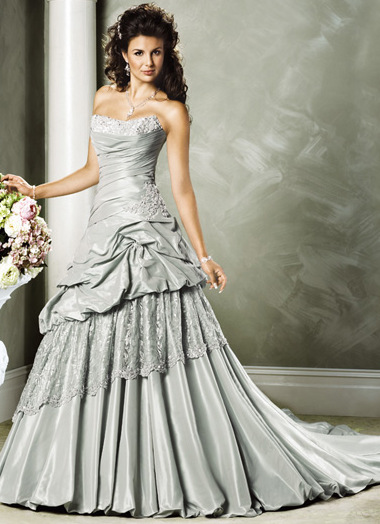 A wedding addict silver wedding dress with soft sweetheart for Non traditional wedding dress colors