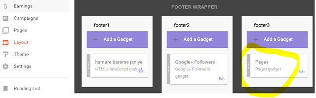 gaghet footer pages