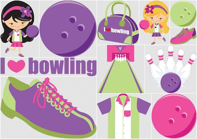 Clipart de Chicas haciendo Bowling.