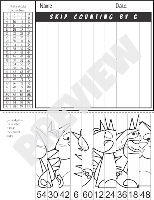 Skip Counting Cut and Paste Worksheets