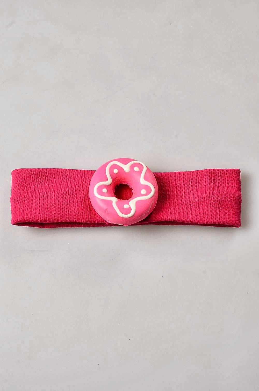 Bebek Saç Bandı, Çiçekli Pembe Donut Bebek, Fuşya