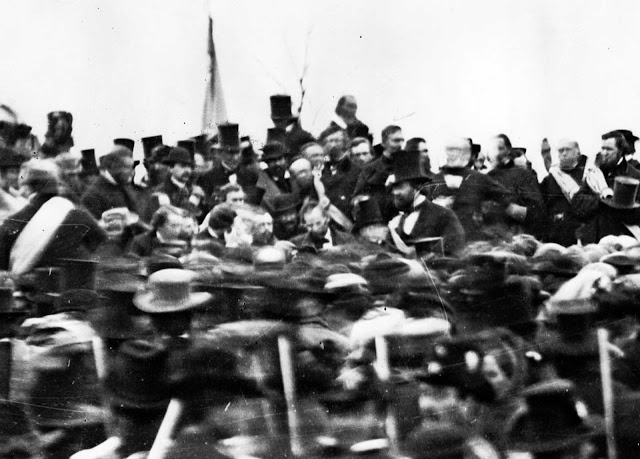 President Abraham Lincoln (center, hatless), surrounded by a crowd during his famous Gettysburg Address, in Gettysburg, Pennsylvania, on November 19, 1863.