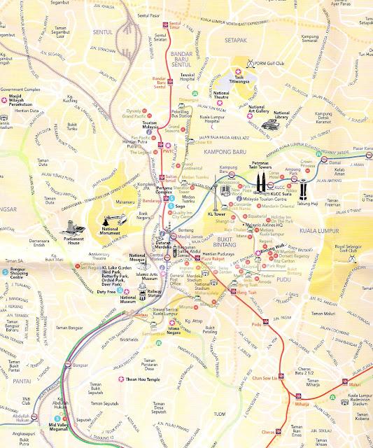 Mapa de Kuala Lumpur - Malásia