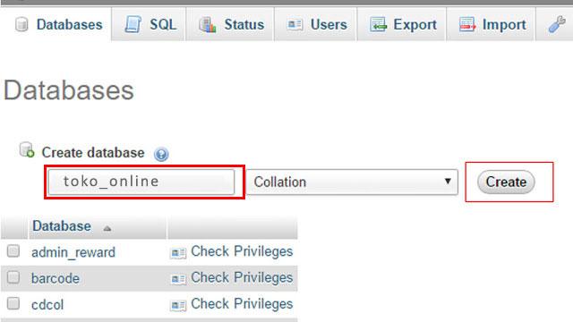 Create Database di XAMPP