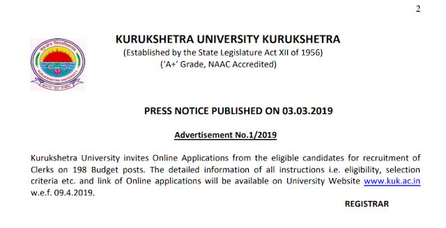 Kurukshetra University Recruitment -2019 Apply Online For 198 Clerk
