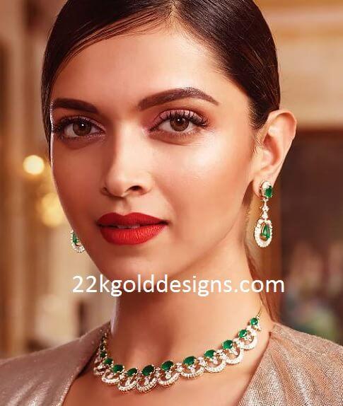 Deepika Padukone In Tanishq Diamond Jewellery 22kgolddesigns