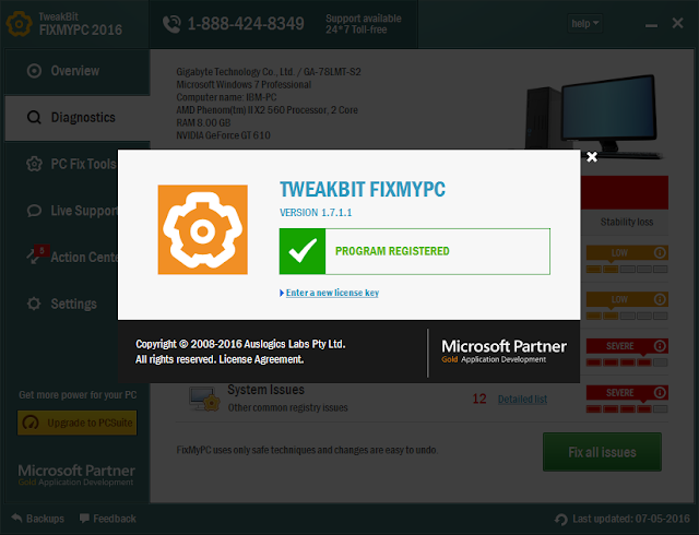 Tweakbit fixmypc 2017 license key