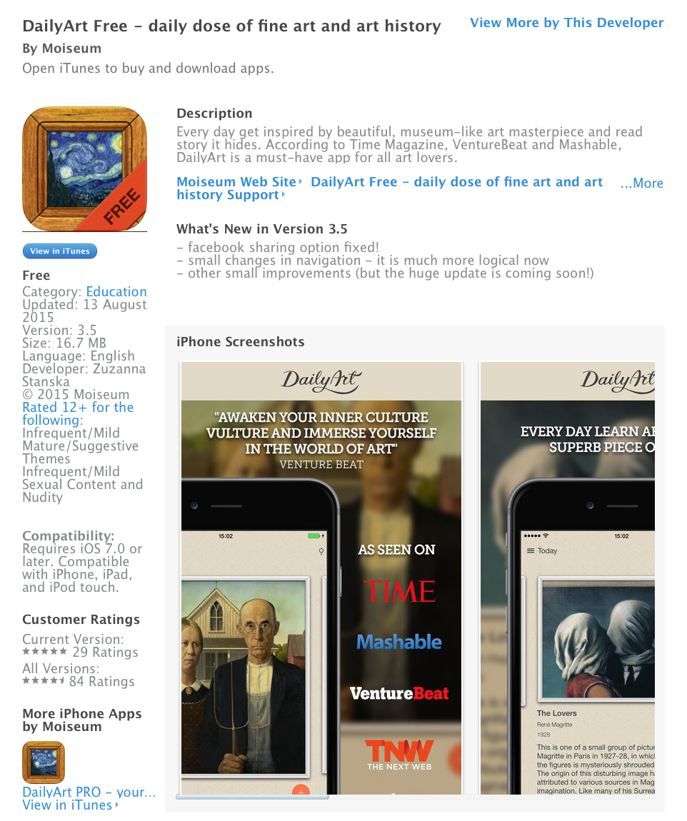UCET Free iOS App today: DailyArt Free - UCET