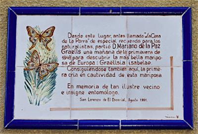 Placa homenaje a Graells, en San Lorenzo de El Escorial.