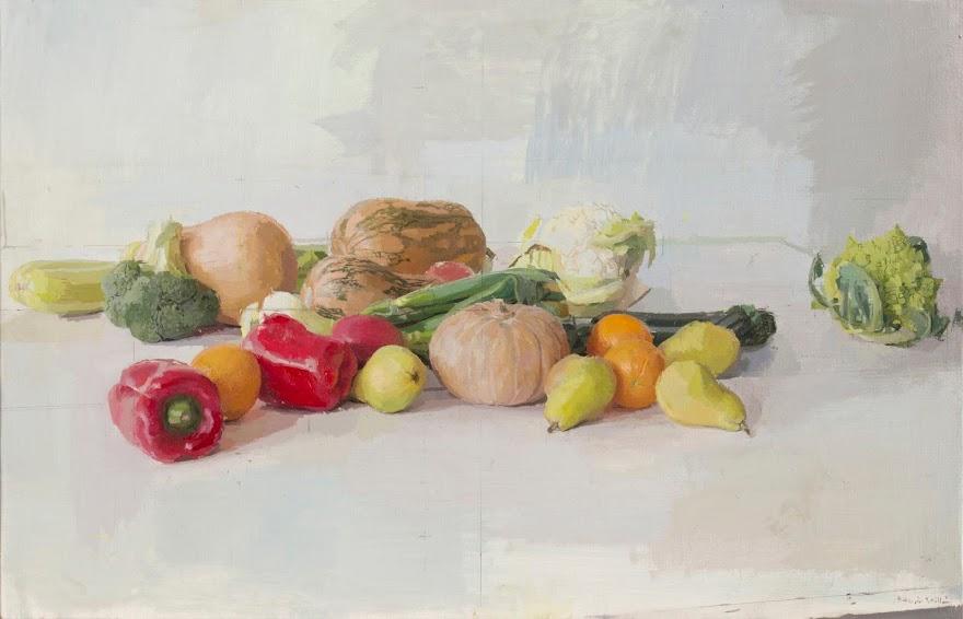 frutas y verduras un óleo sobre lino realizado por eduardo millan