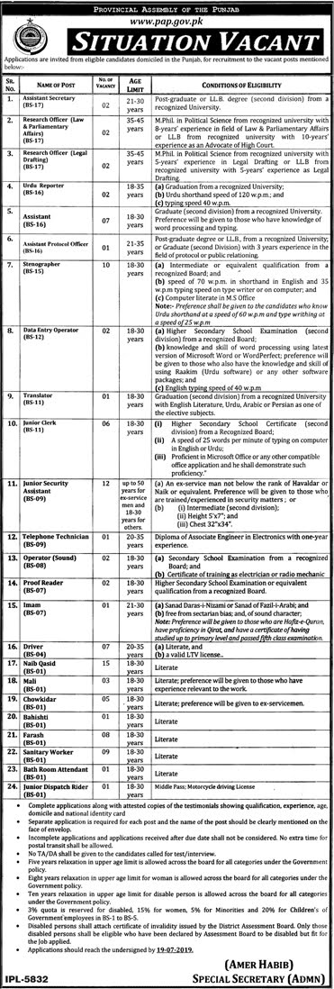 103+Vacancy in Provincial Assembly Jobs 2019 (103+ Posts)