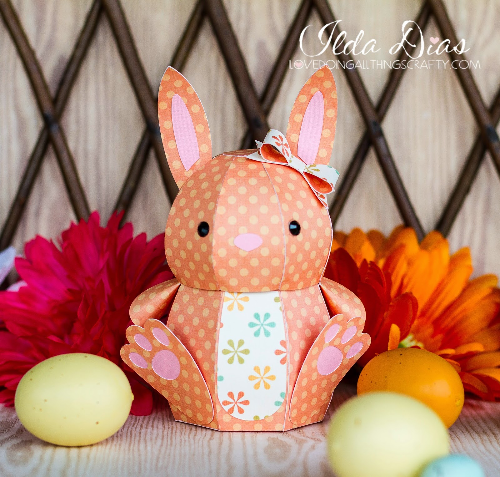 3D Paper Easter Bunny Treat Box | SVGCuts Files