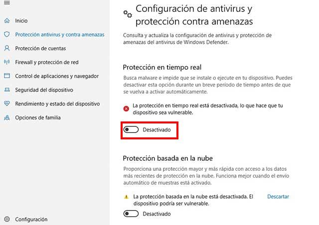 desactivar el antivirus de nuestra pc