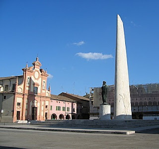 Lugo's main square contains a huge memorial to Baracca