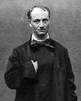 Poeta francés Charles Baudelaire. Retrato antiguo del escritor, que muestra su imagen en blanco y negro y de medio cuerpo