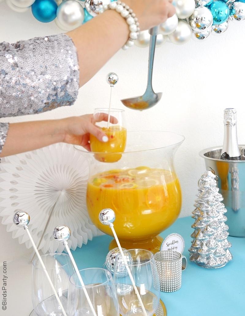 Recette | Sangria de Noël au Champagne et aux Agrumes pour les apéritif de Noel, du Nouvel An ou fêtes de fin d'année! | BirdsParty.fr