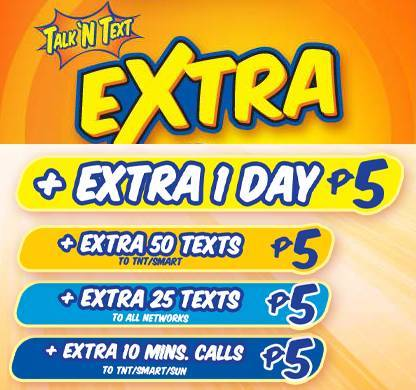 TNT Talk n' Text Extra load 5 pesos call text TP10 TP20