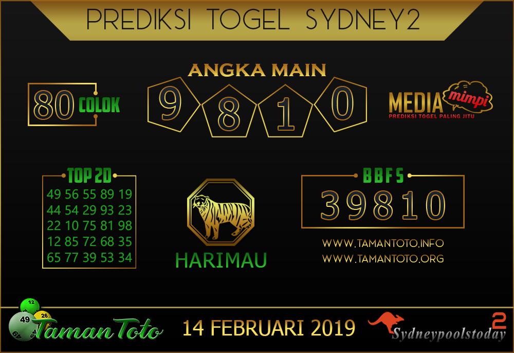 Prediksi Togel SYDNEY 2 TAMAN TOTO 14 FEBRUARI 2019