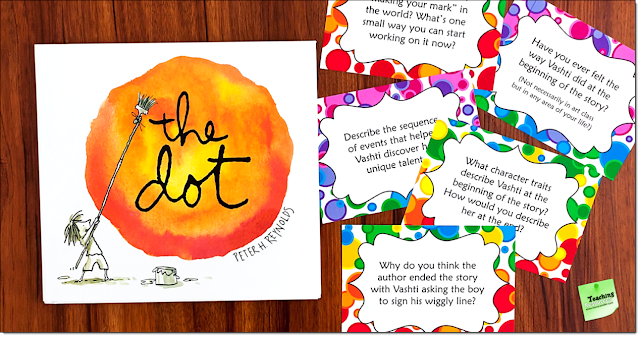 "Free discussion cards from Laura Candler to go with the book ""The Dot"" for International Dot Day"