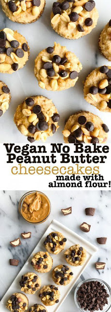Vegan No-Bake Peanut Butter Cup Cheesecakes