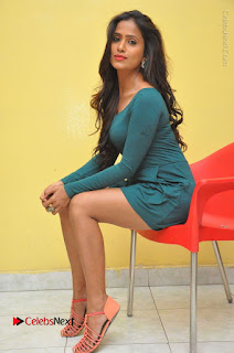 Telugu Actress Prasanthi Stills in Green Short Dress at Swachh Hyderabad Cricket Press Meet  0098.JPG