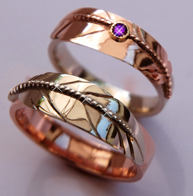 Native Woodland jeweler Zhaawano wedding rings