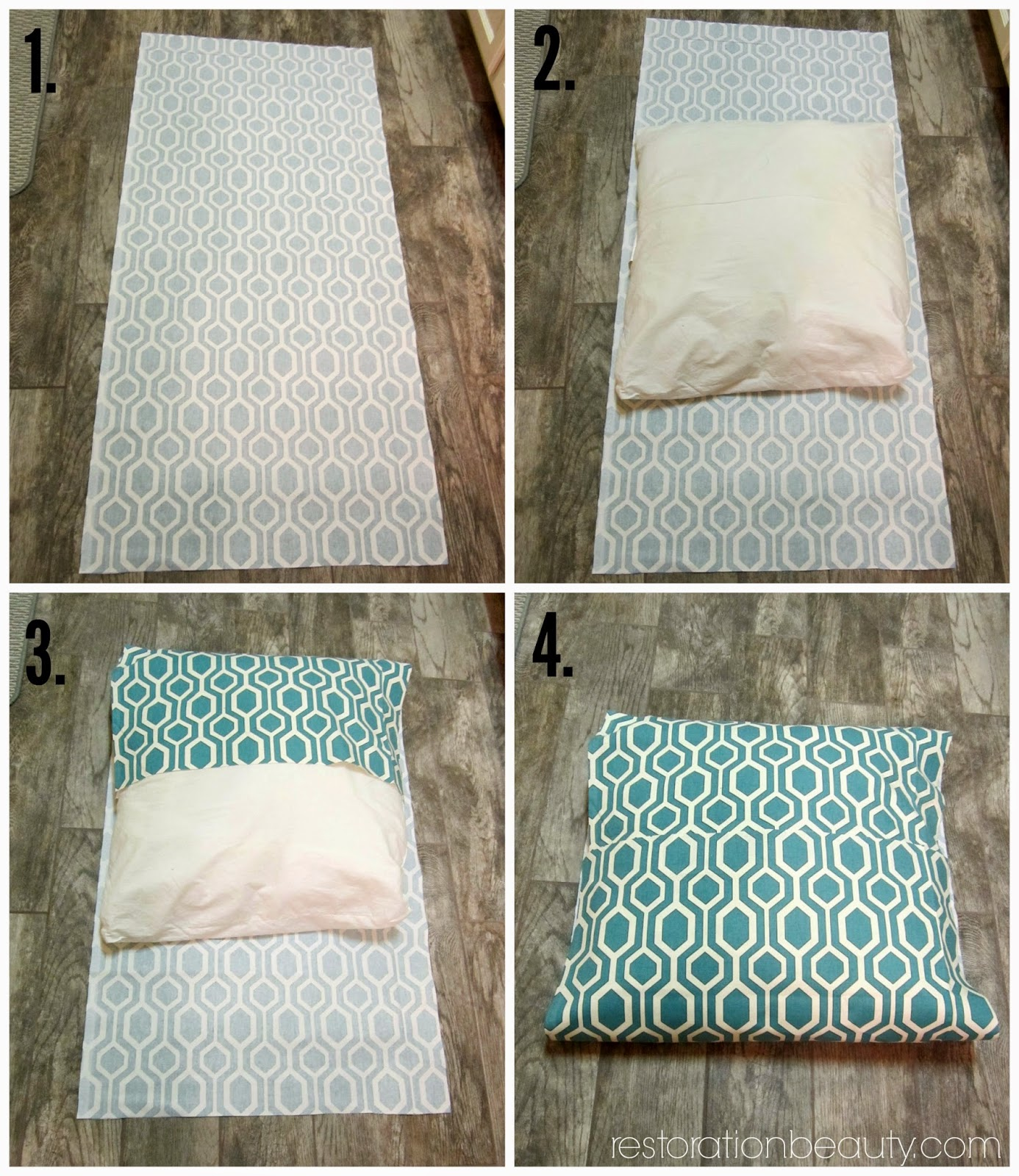 Here S A Photo Collage Ilrating How Your One Piece Of Fabric Should Wrap Around Pillow Form