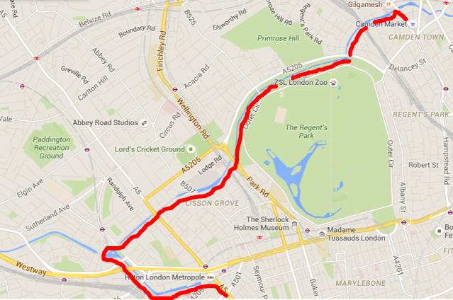 mapa itinerario ruta Little Venice en Londres
