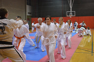 Students doing taekwondo and karate training