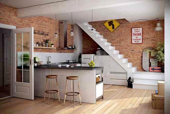 ściana z cegły, loft, ceglana ściana we wnętrzu, wewnątrz domu, Pomysł na..., cegła, w kuchni, cegła na ścianie, pomysł na ścianę, mur z cegieł, w domu, interior brick wall,