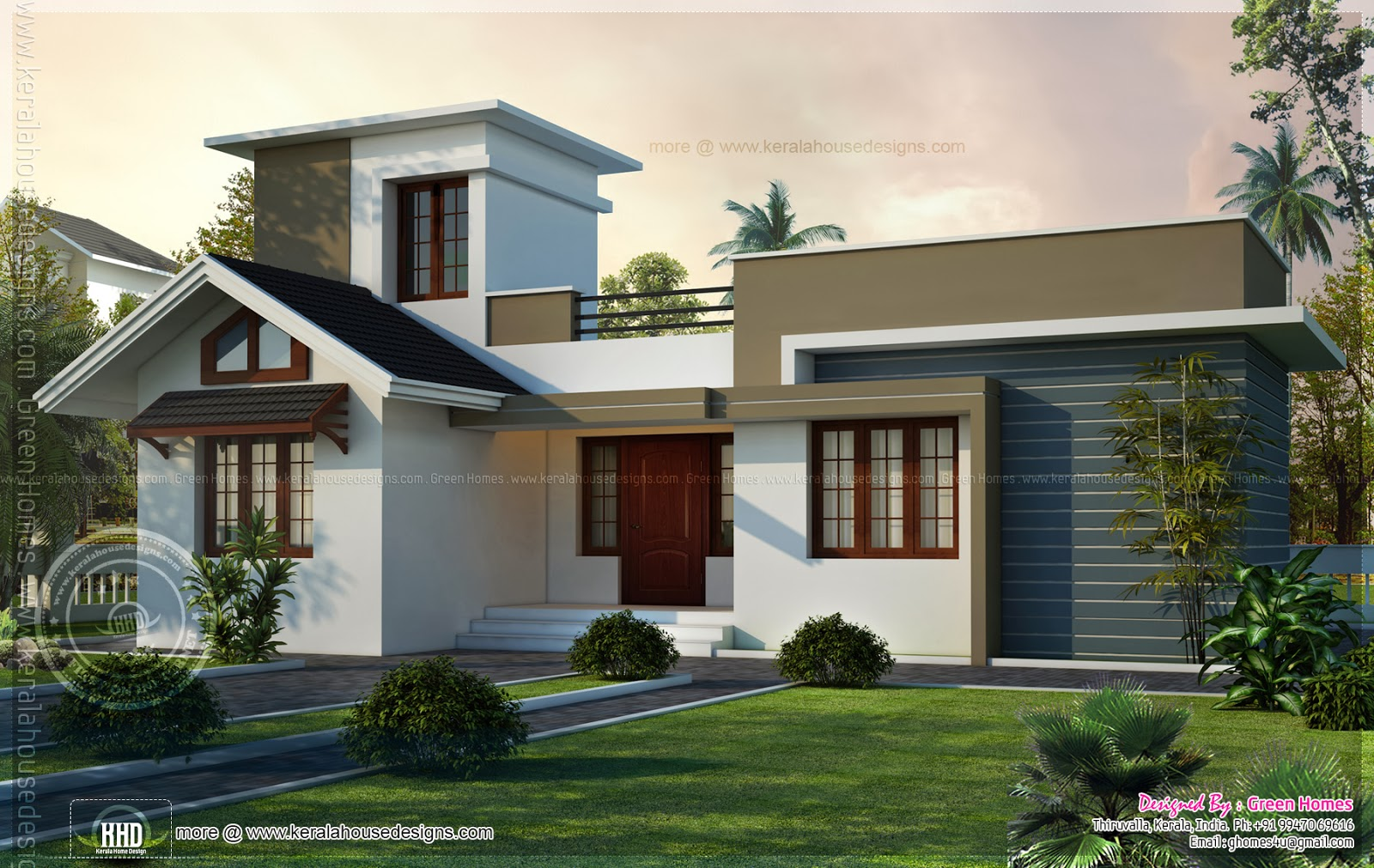 Small House Elevation Kerala Style : Square feet small house design kerala home