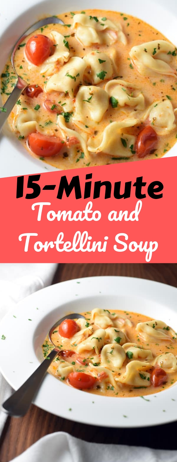 15-Minute Tomato and Tortellini Soup #soup #vegan