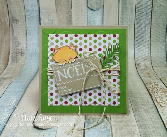 Cat and Tag card by Naki Rager  | Joyful Tags stamp set & Tags Times Two Die Set by Newton's Nook Designs #newtonsnook