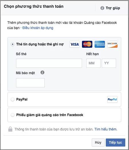 Thêm phương thức thanh toán cho tài khoản quảng cáo Facebook