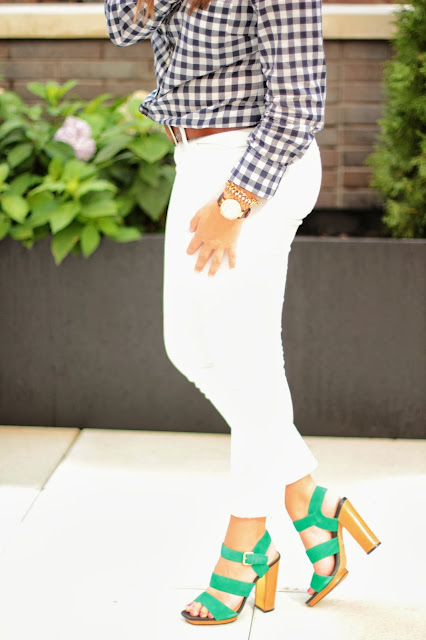 white pants, gingham shirt, dolce vita heels, no white after labor day rule