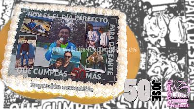 tarta personalizada fondant impresión comesible collage foto montaje fotográfico cumpleaños 50 laia's cupcakes puerto sagunto