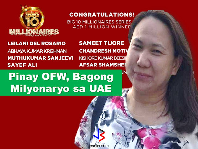 "Filipinos in the UAE continue their winning streak as another OFW takes home Dh1 million or roughly P14 million for being one of the ten lucky winners of Big Ticket Millionaire Raffle in Abu Dhabi.  The draw was held on Thursday, October 5, at the Arrivals Hall of the Abu Dhabi International Airport.  Big Ticket Millionaire is the longest-running prize raffle draw hosted at the said airport.  Sponsored Links  Aside from cash prizes, customers can also purchase tickets for the chance to win luxury cars like Hummers, BMWs, and many more.  Big Ticket, now in its 25th year, aims to bring residents and expats in the UAE ""closer to their big dreams"".  Tickets for all prize draws are available through www.bigticket.ae and also in-store at Abu Dhabi International Airport, Al Ain Duty Free, Ghweifat Duty Free and Abu Dhabi City Terminal.   Leilani Quijano Del Rosario, who works as a nurse in Abu Dhabi, said the money will help in looking after her kids. A mother of three, she is separated and living in the UAE Capital for 14 years now.  ""My two kids are studying back in the Philippines while a third one has started working. This amount will help in repaying my loans and help my students in pursuing their higher education. I am managing the affairs alone and this amount will help me immensely,"" Leilani said.  She, however, will be sharing the prize money with her colleagues.  ""We all colleagues chipped in with money to buy the ticket. And will now share it accordingly,"" Leilani said.  And how she plans to celebrate? ""Nothing, I will be going to church to say my thanks to the lord and also the UAE for this good blessing,"" Leilani added.  Other winners, mostly Indians, are all men. Advertisement Read More:       ©2017 THOUGHTSKOTO"
