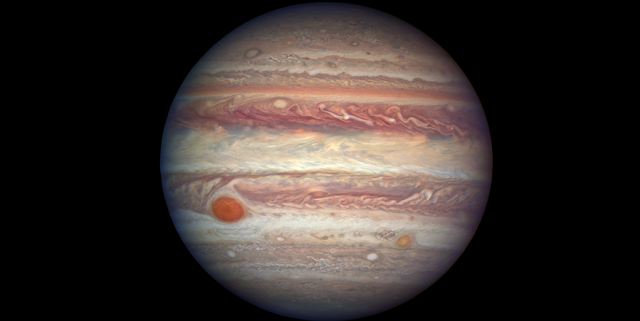 This photo of Jupiter, taken by NASA's Hubble Space Telescope, was snapped when the planet was comparatively close to Earth, at a distance of 415 million miles. Credits: NASA, ESA, and A. Simon (NASA Goddard)