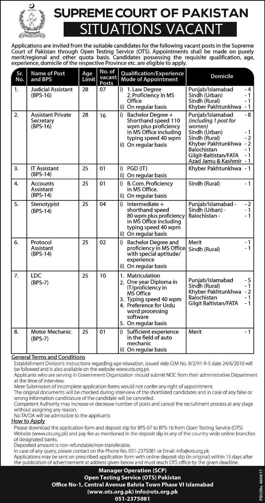 Jobs In Supreme Court Of Pakistan 2018 for Accounts Assistant and others
