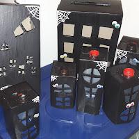 bricolage briques de lait récup' halloween enfant village hanté yeux mobiles