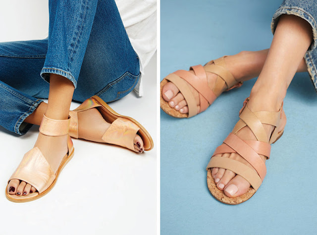 Минималистские сандалии нейтрального цвета с широкими ремешками