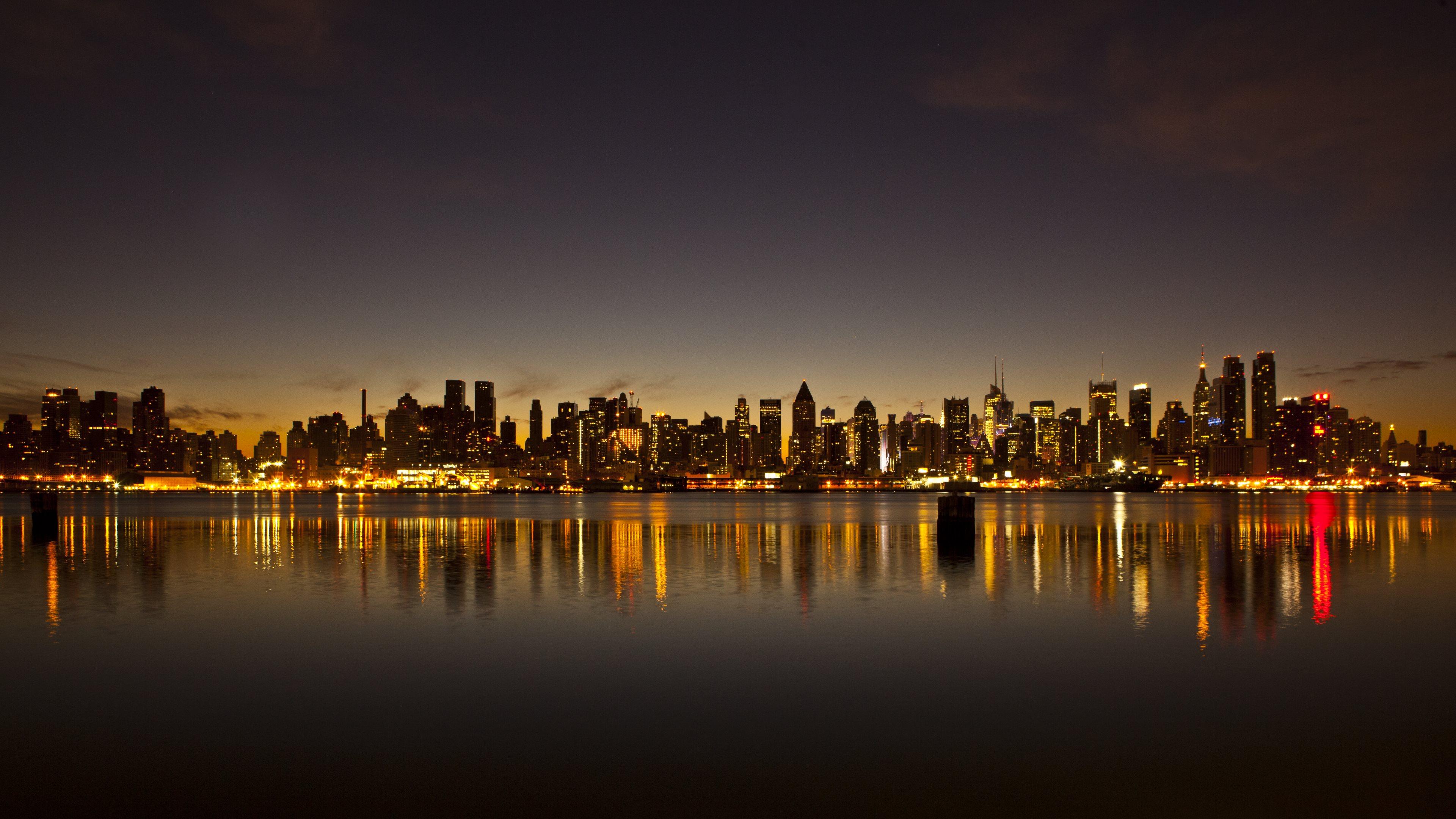 New York Skyline At Sunset HD desktop wallpaper Widescreen