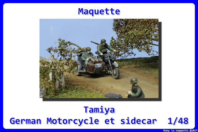 Maquette German Motorcycle et sidecar de Tamiya au 1/48.