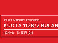 Paket Internet Telkomsel 11GB/60 Hari Hanya 70 ribu