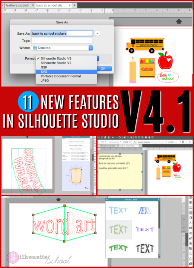 new silhouette studio features, v4.1 features. silhouette studio tutorials