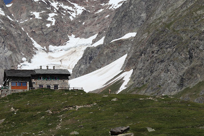 Rifugio Elisabetta with the Lex Blanche glacier behind it.