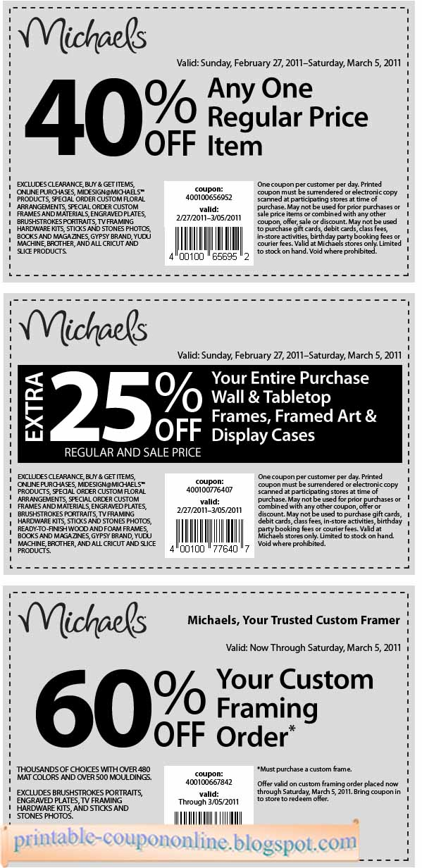 Printable Coupons At Michaels. Click here to get up-to-the-minute in-store coupons and online promo codes from Michaels. Select your location to see all coupons.5/5(5).