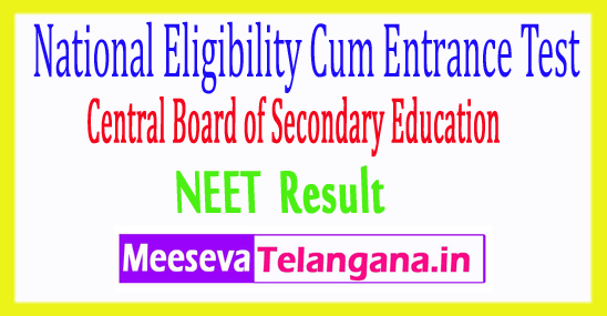 National Eligibility cum Entrance Test CBSE NEET Result 2018