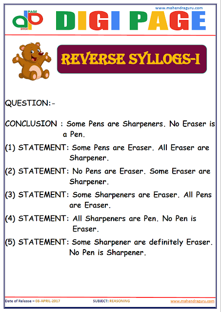 DP | REVERSE SYLLOGS | 8 - APR - 17 | IMPORTANT FOR SBI PO